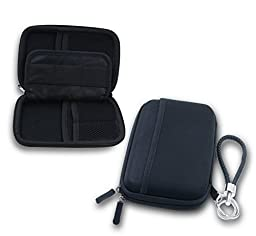 ZHPUAT Portable External Hard Drive Case Shockproof Carrying Case + Key Ring with Attached Lanyard - Black