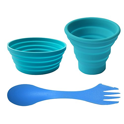 Ecoart Silicone Collapsible Bowl Cup Set with Spork for Outdoor Camping Hiking Travel, Blue - Set of 3
