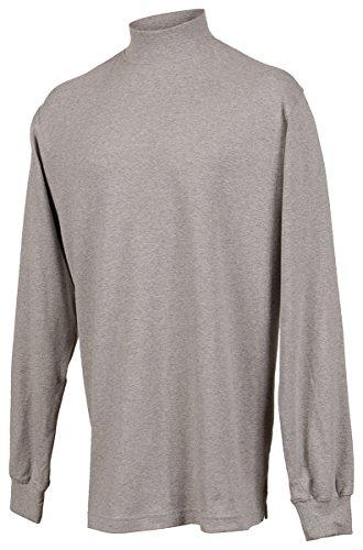 Tri-Mountain Cotton Interlock Mock Turtleneck. 620 - Heather Gray_Xl front-855618