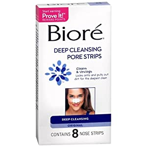 Biore Deep Cleansing Pore Strips, 8 Nose Strips.  (Pack of 2)