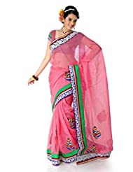 Designersareez Women Net Embroidered Pink Saree With Unstitched Blouse(1406)