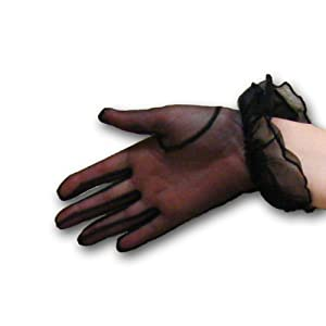 Sheer Tea Party Gloves in White, Ivory or Black Greatlookz Colors: Black
