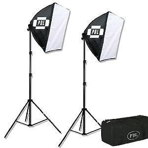 "PBL Studio Photography Video Light Kit Continuous Lighting Kit Video Lighting EZ 24""x 24"" Softbox Photographic Lighting"