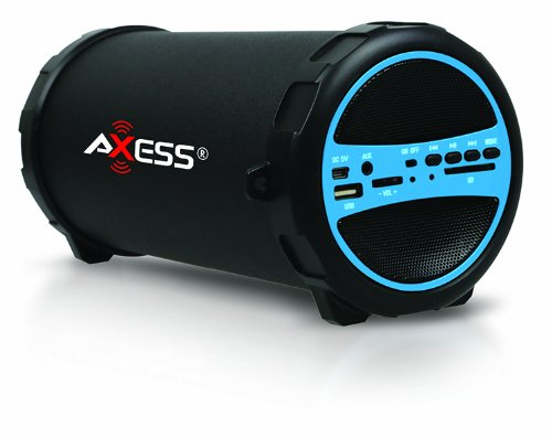 "Axess SPBT1031-BL Portable Bluetooth Indoor/Outdoor 2.1 Hi-Fi Cylinder Loud Speaker with SD Card, USB, AUX and FM Inputs, 3"" Sub In Blue Color"