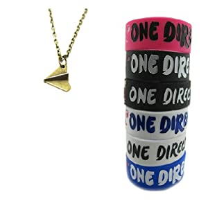 One Direction 6pcs Bracelet Wristband with 1 Pcs Coppery Harry Style Airplane Necklace from Molie