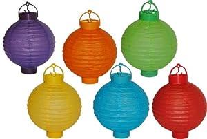6 tlg. Set Papier Laterne mit Licht - kabellos - Papierlaterne Laternen Lampion Lampions bunt
