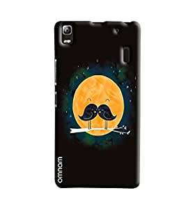 Omnam Two Birds Loving Each Other With Moon Background Printed Designer Back Cover Case For Lenovo A7000