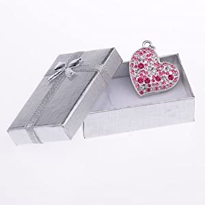 8GB Pink and Clear Crystal Heart Style USB Flash Drive with Necklace