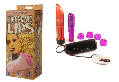 Doc Johnson- Extreme Lip Masturbator Multi-Product Value Bundle - Sex Toy Kit