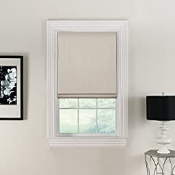 Flat Roman Shades---Polyester Faux Linen Face Fabric---Blackout Lining-32 Inches Wide by 72 Inches Long-Natural (Off White)---Cordless