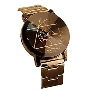 LOVELYIVA Fashiom Men Stainless Steel Band Quartz Analog Wrist Watches Black