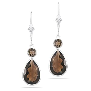 Willow Gold Rodeo Smokey Topaz Pear Drop 14k White Gold Earrings
