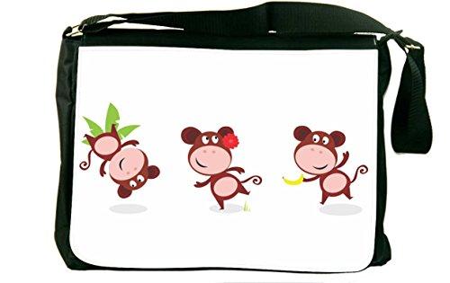 Rikki Knighttm Monkeys Dancing Messenger Bag - Shoulder Bag - School Bag For School Or Work With Matching Neoprene Pencil Case front-635962
