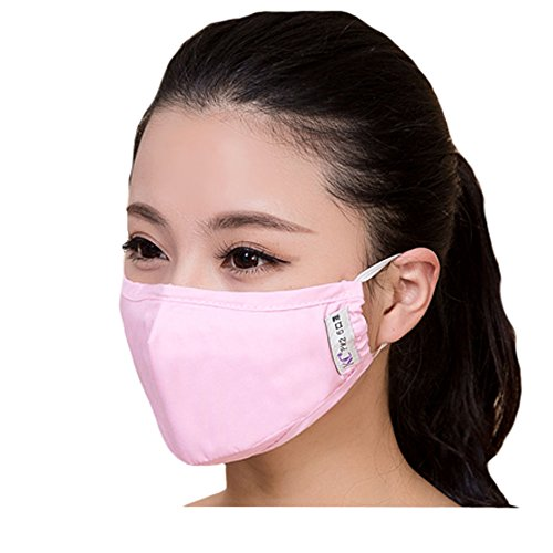 Adults PM2.5 Anti-bacterial Filtering Earloop Mouth Face Mask + 4 Filter, Pink