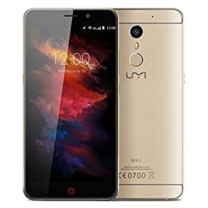 UMI Max 4G Phablet - Android 6.0 smartphone 5.5 inch Corning Gorilla Glass 3 Helio P10 Octa Core 2.0GHz 3GB RAM Fingerprint Scanner HiFi Type-C Bluetooth 4.1 GPS - Gold