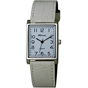 Ravel Large Case Fashion on PU Strap Women's Quartz Watch with White Dial Analogue Display and White Plastic Strap R0120.04.1