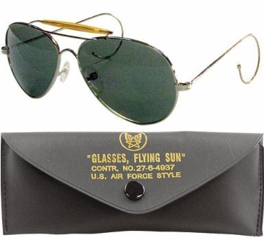 10200 Air Force Style Sunglasses -Gold Frame - Green Lenses