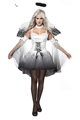 [NonEcho Adult Fallen Dark Angel Costume Women Halloween Costume] (Dark Shadows Halloween Costumes)