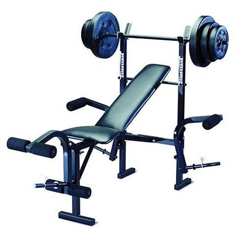 Powerhouse phc 265 free weight bench includes 100lb weight set Weight set and bench