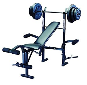 Powerhouse Phc 265 Free Weight Bench Includes 100lb Weight Set Adjustable