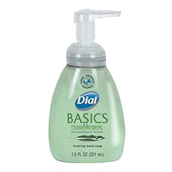 Dial 06042 Basics Hypoallergenic Foaming Lotion Soap Manual Pump, 7.5 oz, (Case of 8)