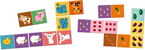 Jouetprive-Dominos réversibles en bois animaux et légumes 28 pièces
