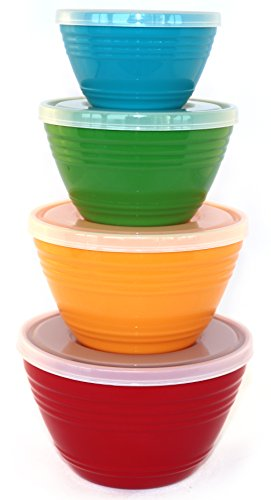 WholeMarket Nested Prep Bowl Set - 4 Small Plastic Mixing Bowls with Lids Included - Food Safe - BPA Free - 1 cup / 1 pint / 1.5 pints / 1 quart