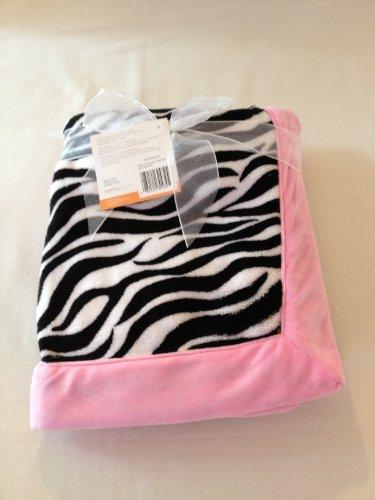 Pink Zebra Baby Blanket front-177080