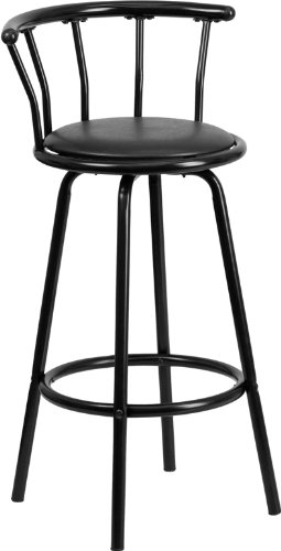 Flash Furniture Crown Back Black Metal Bar Stool With Black Vinyl Swivel Seat