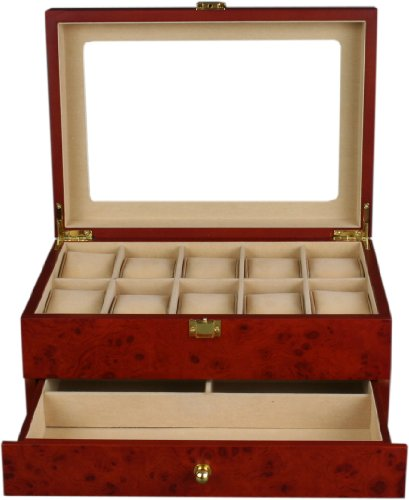 Kendal  Top Quality Wooden Burlwood Matte Finish Watch Case Display Box With Clear Glass Top and a Drawer WC10+3YL