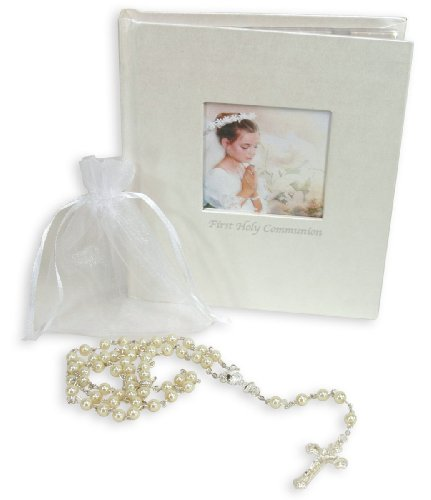 Stephan Baby Keepsake My First Communion Gift Set With Rosary And Photo Album, Girl front-838318