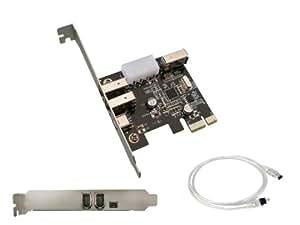 KALEA-INFORMATIQUE © - Carte Controleur PCI EXPRESS (PCI-E) vers FireWire 400 IEEE1394a - 3+1 ports 6 points et 4 points - CHIPSET VIA - Avec cordon Ilink