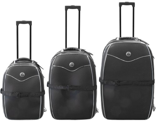 Kofferset 3 teilig schwarz mit hochfestem Nylon