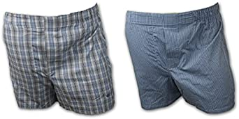 JOSEPH ABBOUD MEN'S 2 PACK TRADITIONAL WOVEN BOXER SHORTS SMALL (28-30) ASSORTED PLAID