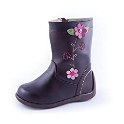 Wobbly Waddlers | FIRST STEPS - LOLA |Brown Leather Baby & Toddler Girl Boots (ankle & arch support)| Size 7 Toddler
