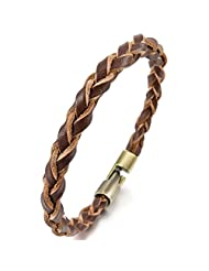 MunkiMix Alloy Genuine Leather Bracelet Bangle Gold Brown Braided Tribal Men