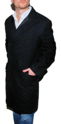 Ralph Lauren Doulbe RL RRL Mens Overcoat Trench Wool Dress Jacket Gray Large