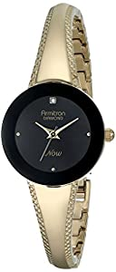 Armitron Women's 75/5218BKGP Diamond-Accented Black Dial Gold-Tone Tapered Bangle Watch