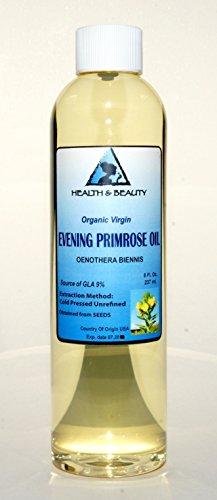 Evening Primrose Oil Organic Carrier Virgin Cold Pressed Pure 8 Oz