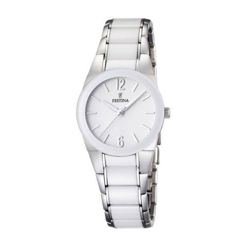 Festina F16534/1 - Reloj analógico de pulsera para mujer (correa de acero inoxidable y esfera blanca)
