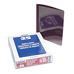 Linen Finish Clear Front Report Cover, 3 Fasteners, Letter, Burgundy, 25/Box, Sold as 25 Each
