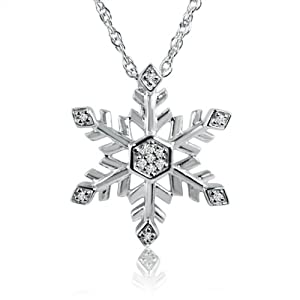 "Diamond Snowflake Pendant-Necklace in Sterling Silver .09cttw 18"" Chain"