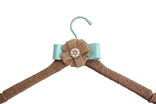 Wedding Dress Hanger Rustic Farmhouse Burlap Jute Bridal Shower Gift (Aqua Blue)