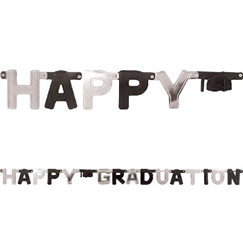 Happy Graduation Large Foil Letter Banner- Black & Silver by Party America - 1