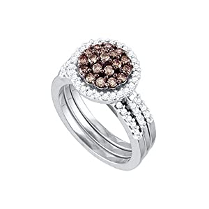 10kt White Gold Womens Cognac-Brown Colored Diamond Cluster Bridal Wedding Engagement Ring Set (1.00 cttw.)