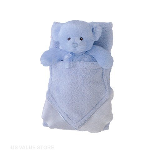 Baby Boy Blanket and Rattle, My First Teddy Buddyluvs - Blue