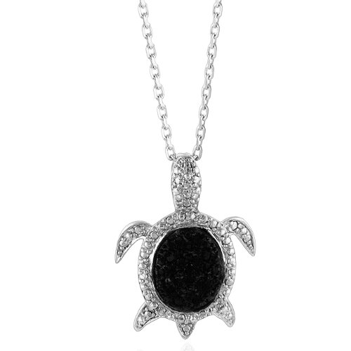 Sterling Silver & Treated Black Diamond Turtle Pendant with 18&quot; Chain