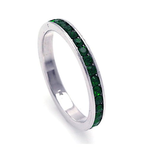 2.5mm Sterling Silver Channel Set Cubic Zirconia May Birthstone Emerald Simulant Eternity Ring Band (Sizes 3 to 9) - Size 3