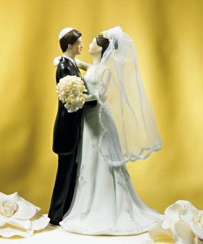 Traditional Jewish Bride & Groom Wedding Cake Topper Keepsake back-1055261