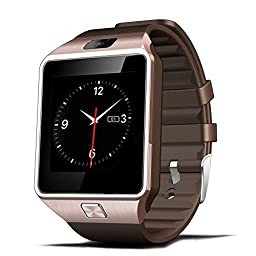 Luxsure® Smartwatch Bluetooth Smart Watch Wrist Wrap Watch Phone Micro SIM Card with Camera Touch Screen for Samsung Galaxy S4/S5/S6, HTC and iPhone 5, iPhone 6/6 PLUS Smartphones(Gold)